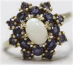 Synthetic Opal & Iolite Ring set in 14K Yellow Gold